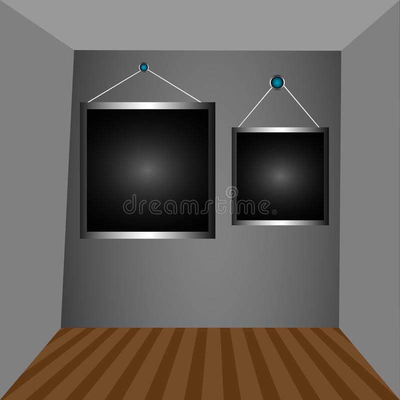 Graue Wände und dunkle Felder vektor abbildung