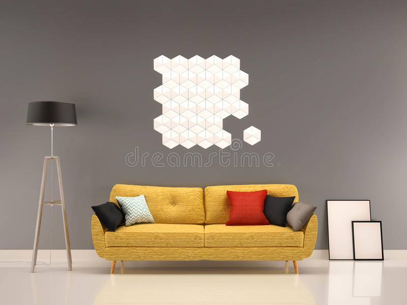 graue wand des wohnzimmers mit gelbem sofa innen stock abbildung illustration von dekorativ. Black Bedroom Furniture Sets. Home Design Ideas
