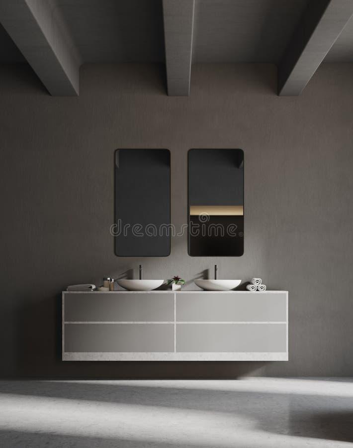 Graue Wanneneitelkeitseinheit in einem grauen Badezimmer lizenzfreie abbildung