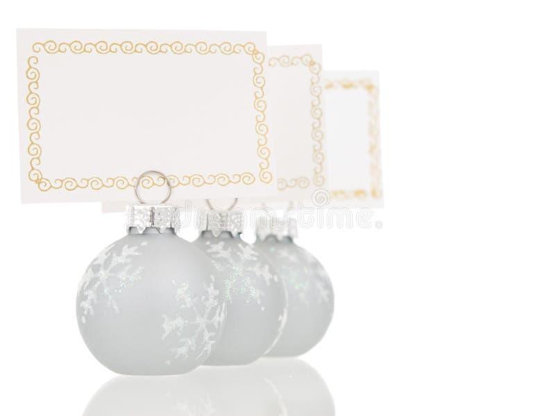 Graue Weihnachtsplatz-Kartenhalterinline-Ansicht stockfoto