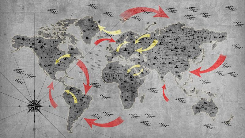 Graue Weltkarte mit offensiven Pfeilen Tapeten für Wände Abbildung 3D vektor abbildung