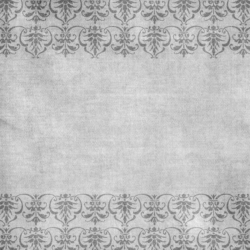 Grauer antiker Blumendamast-Hintergrund stock abbildung