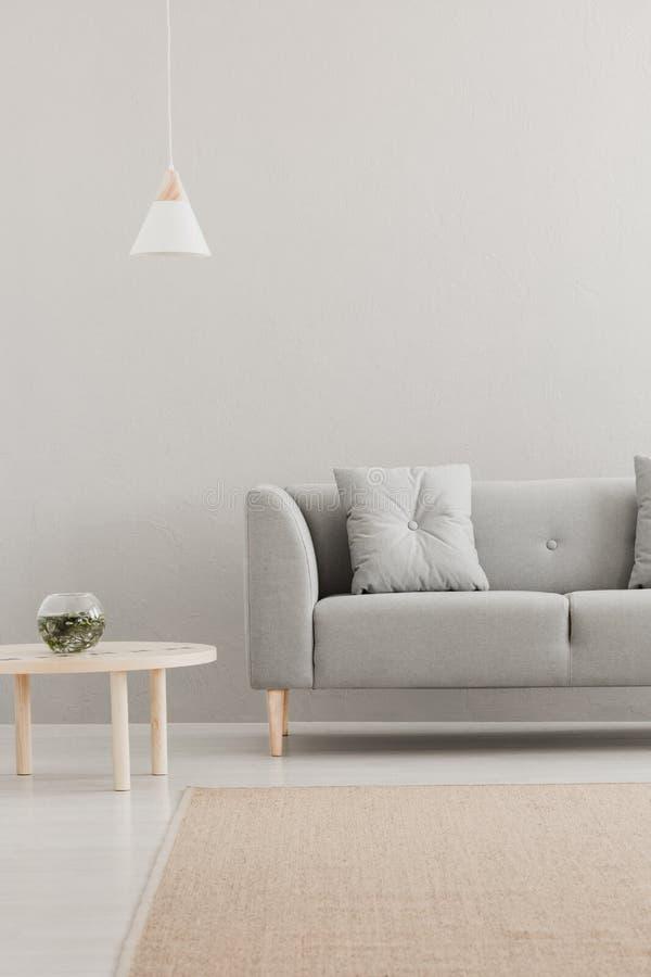 Grauer Aufenthaltsraum im wirklichen Foto des hellen Wohnzimmerinnenraums mit weißer Lampe, Teppich und Holztisch Kleben Sie Ihre lizenzfreie stockfotografie