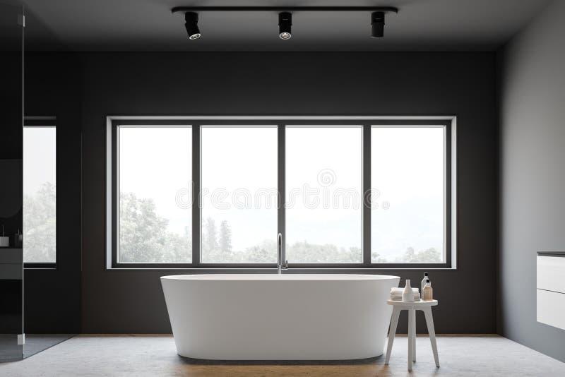 Grauer Badezimmerinnenraum mit Wanne vektor abbildung