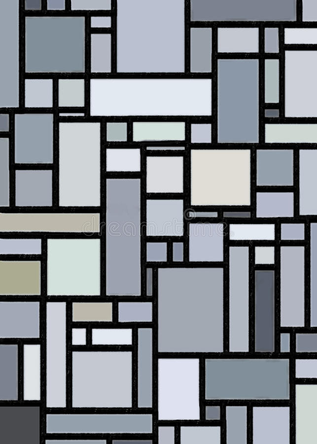 Grauer Block Mondrian angespornt vektor abbildung