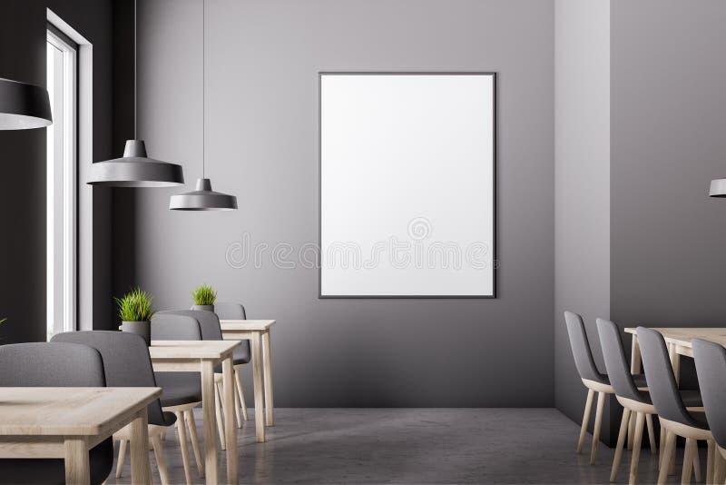 Grauer Caféinnenraum mit Plakat vektor abbildung