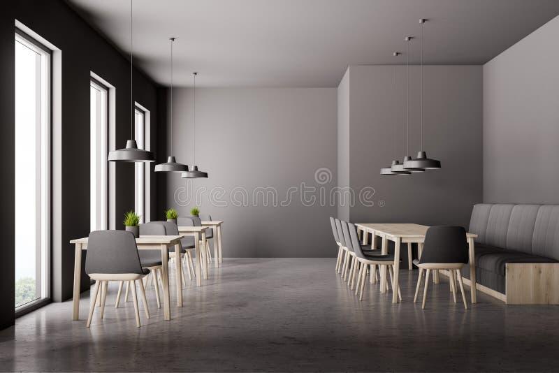 Grauer Caféinnenraum mit Sofa vektor abbildung