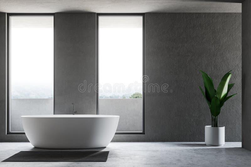 Grauer Dachbodenbadezimmerinnenraum mit weißer Wanne lizenzfreie abbildung