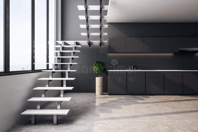 Grauer Dachbodenkücheninnenraum vektor abbildung