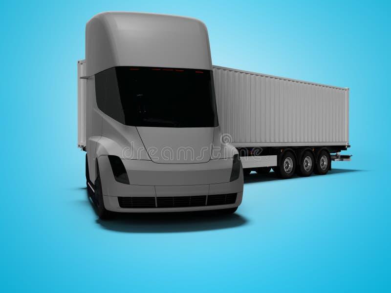 Grauer elektrischer Traktor mit grauem Anhänger für bewegliche Waren zu den verschiedenen Ländern 3d auf blauem Hintergrund mit S stock abbildung