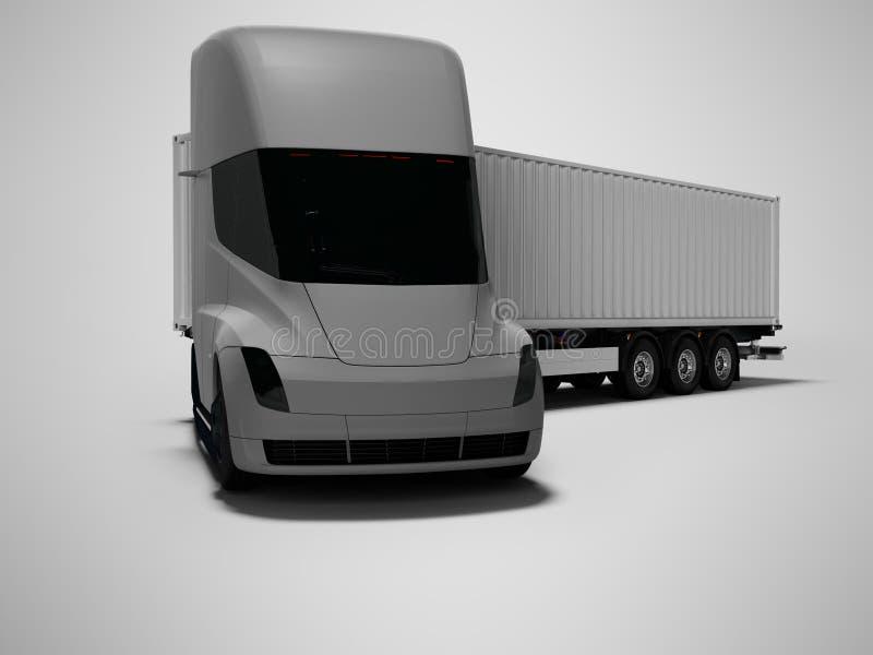 Grauer elektrischer Traktor mit grauem Anhänger für bewegliche Waren zu den verschiedenen Ländern 3d auf grauem Hintergrund mit S vektor abbildung