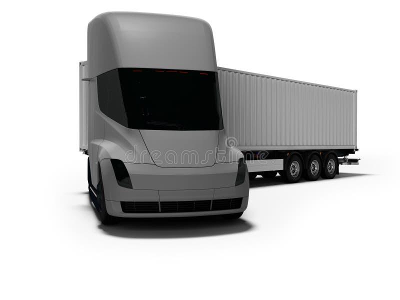 Grauer elektrischer Traktor mit grauem Anhänger für bewegliche Waren zu den verschiedenen Ländern 3d auf weißem Hintergrund mit S lizenzfreie abbildung