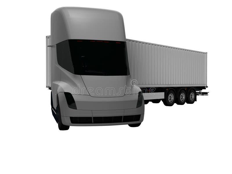 Grauer elektrischer Traktor mit grauem Anhänger für bewegliche Waren zu den verschiedenen Ländern 3d auf weißem Hintergrund keine stock abbildung