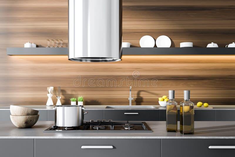 Grauer Küche Countertop im hölzernen Raum, Ofen stock abbildung