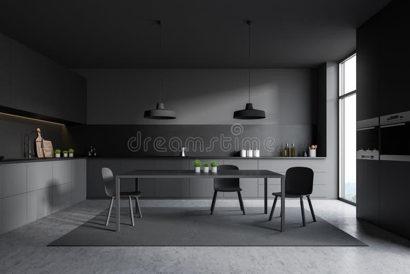 Grauer Kücheninnenraum mit grauem Schrank vektor abbildung