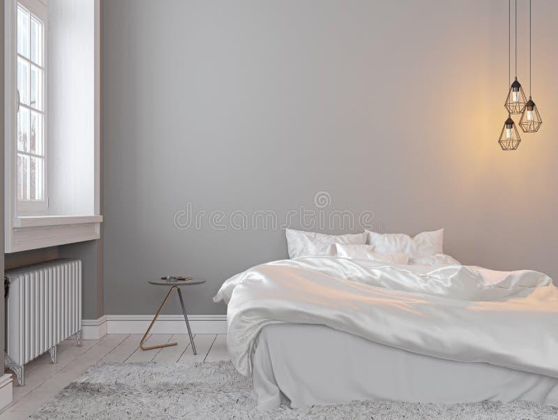 Grauer leerer Schlafzimmerinnenraum Scandinavin-Dachbodens mit Bett, Tabelle und Lampe stock abbildung