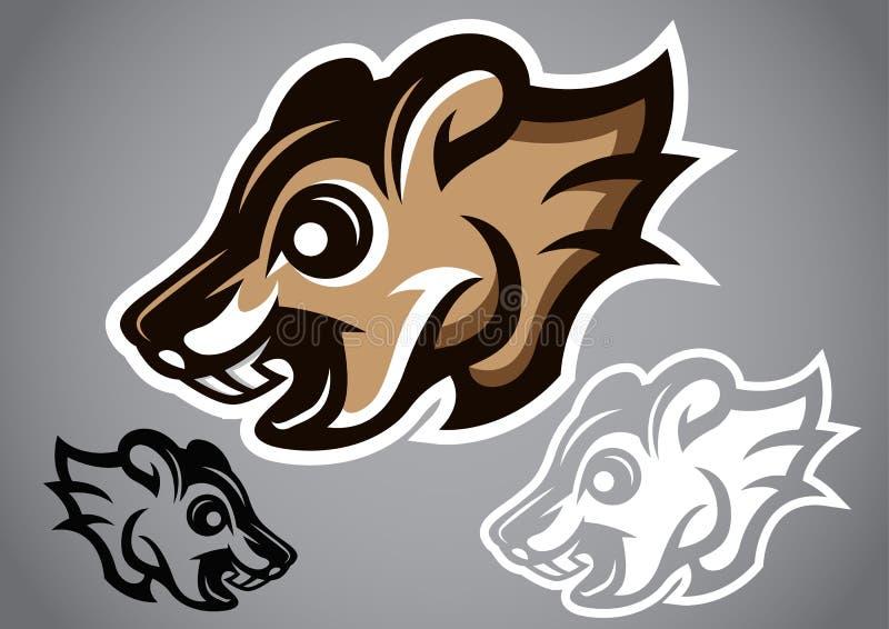 Grauer Logovektor 2902 des wilden Eichhörnchenkopfes stock abbildung