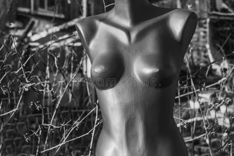 Grauer Plastikfehlschlag eines Nacktemannequins auf der Straße lizenzfreies stockfoto