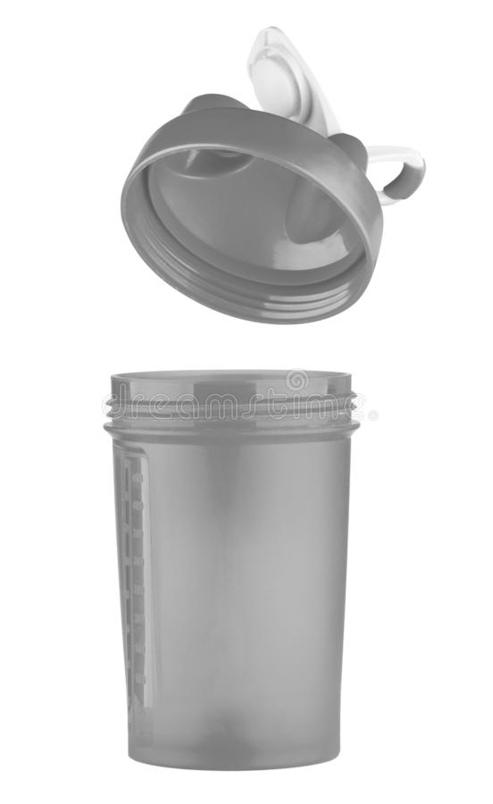 Grauer Schüttel-Apparat für Sportnahrung mit einem offenen Deckel lizenzfreie stockbilder