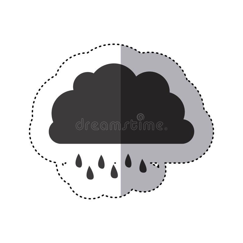 grauer Schattenbildaufkleber der Wolke mit Nieselregen vektor abbildung
