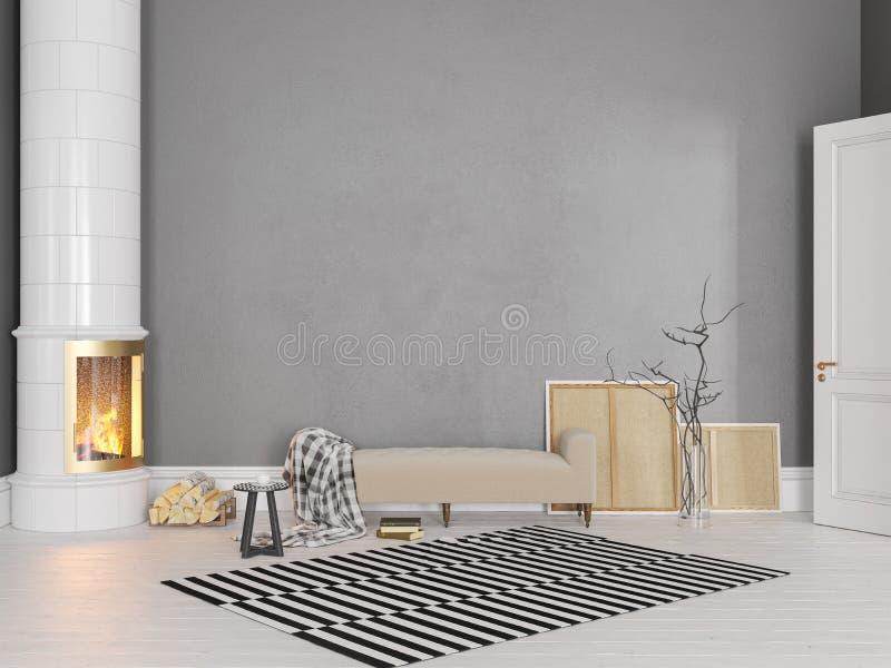 Grauer Skandinavier, klassischer Innenraum mit Couch, Ofen, Kamin, Teppich stockbilder