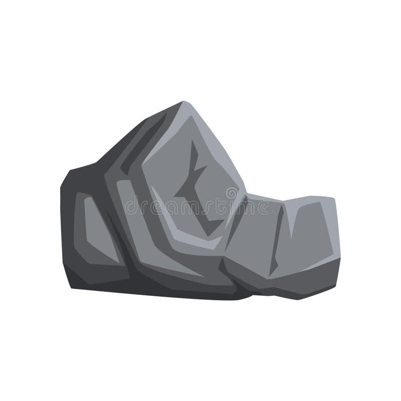 Grauer Stein mit Lichtern und Schatten Fester Gebirgsfelsen Natürliches Vektorelement für Karte oder Landschaftshintergrund von stock abbildung