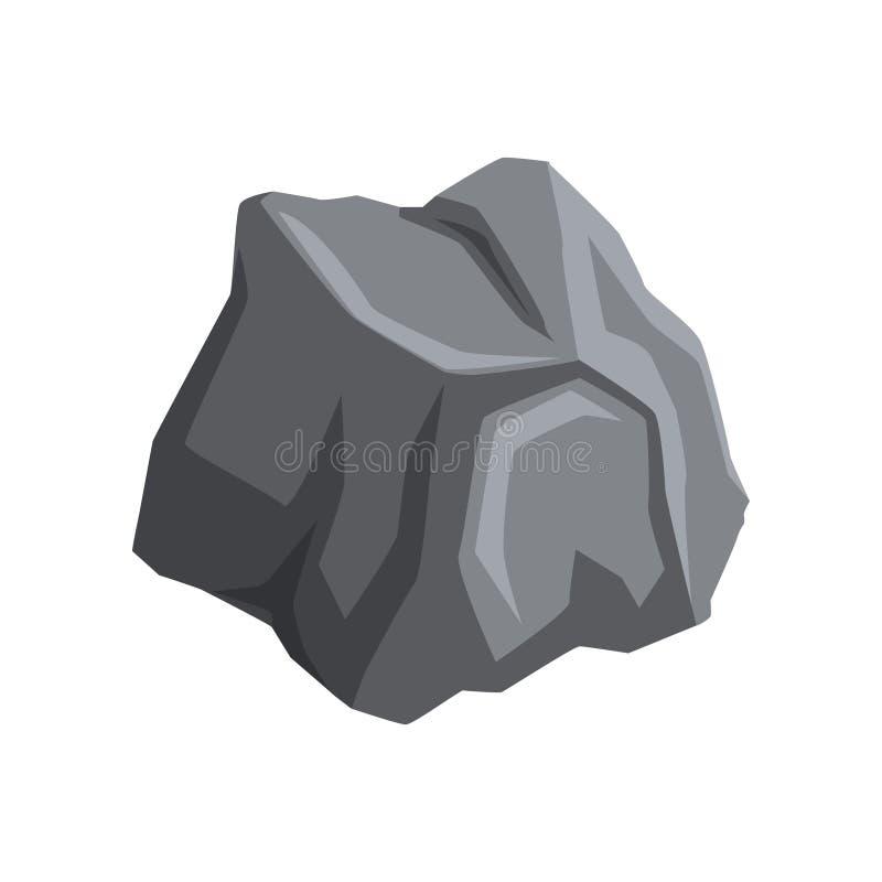 Grauer Stein mit Lichtern und Schatten Karikaturvektorikone des Gebirgsfelsens Natürlicher Gegenstand für die Schaffung von Lands lizenzfreie abbildung