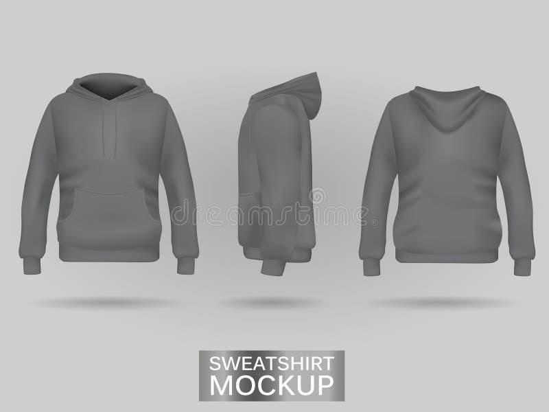 Grauer Sweatshirt Hoodie ohne Zipschablone in drei Maßen vektor abbildung