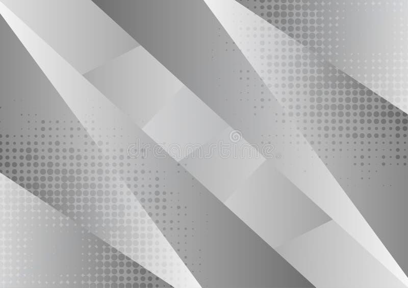 Grauer und weißer geometrischer abstrakter Hintergrund, Vektorillustration mit Kopienraum lizenzfreie abbildung