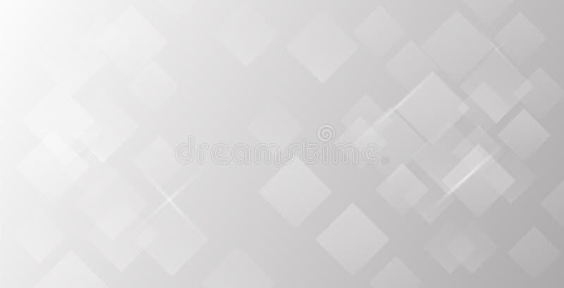 Grauer und weißer quadratischer abstrakter Hintergrund vektor abbildung