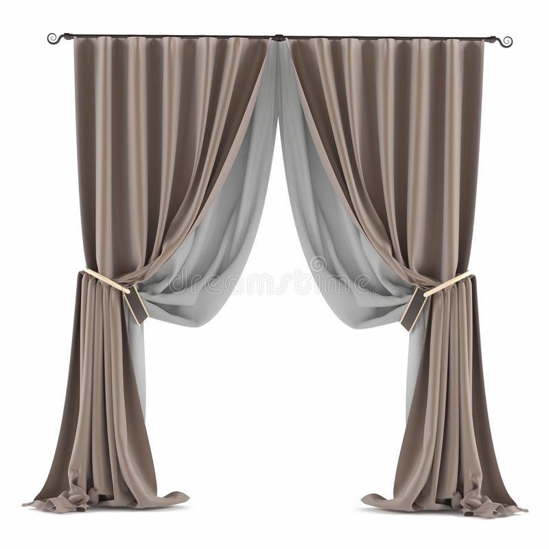 Grauer Vorhang Browns lokalisiert stock abbildung