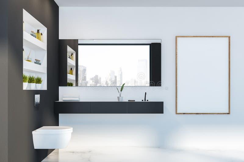 Grauer weißer Badezimmerinnenraum, -toilette und -plakat stock abbildung