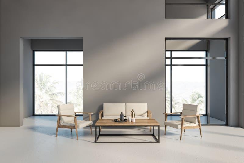 Grauer Wohnzimmerinnenraum mit Sofa und Lehnsesseln lizenzfreie abbildung