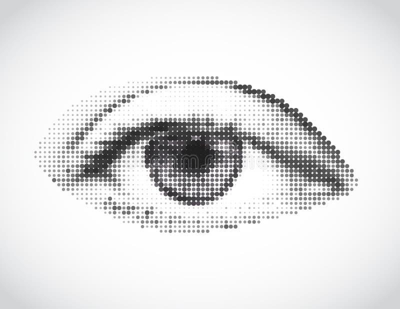 Graues Auge der abstrakten Frau gemacht von den Punkten. Vektor stock abbildung