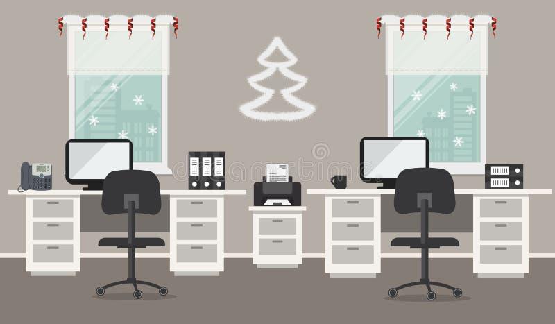 Graues Büro, verziert mit Weihnachtsdekoration lizenzfreie abbildung
