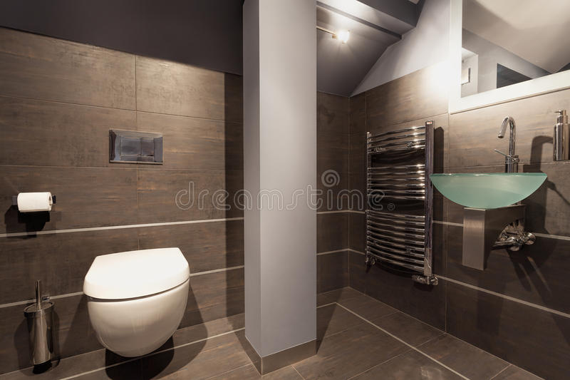 Graues badezimmer mit toilette stockfoto bild von cosy - Graues badezimmer ...
