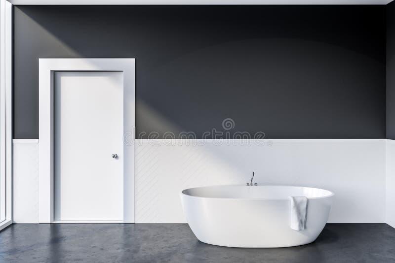 Graues Badezimmer mit weißer Wanne vektor abbildung