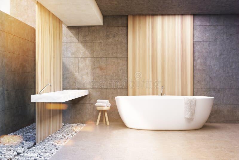 Graues Badezimmer, weiße Wanne, Front, getont lizenzfreie abbildung