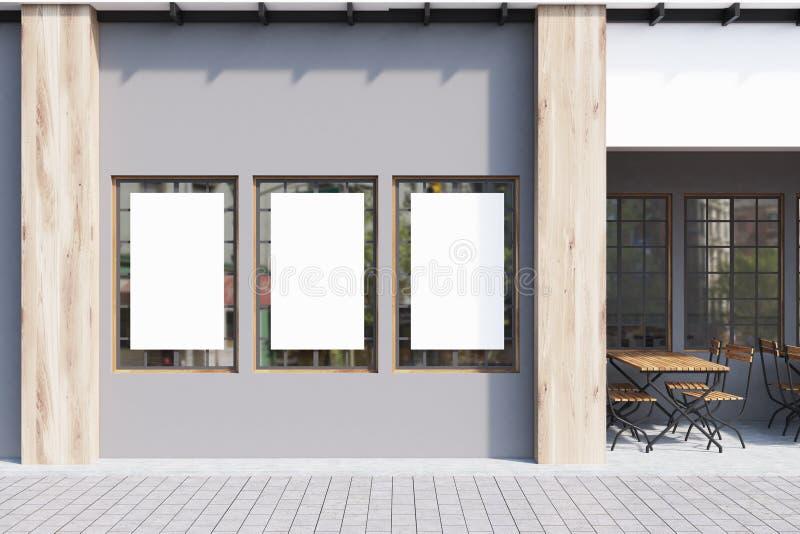 Graues Café, Poster, Abschluss oben lizenzfreie abbildung