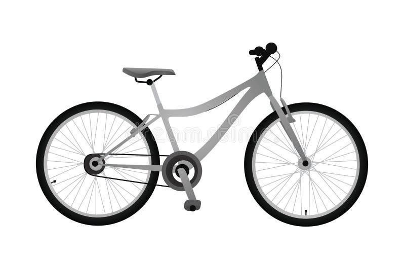 Graues Fahrrad auf weißem Hintergrund vektor abbildung