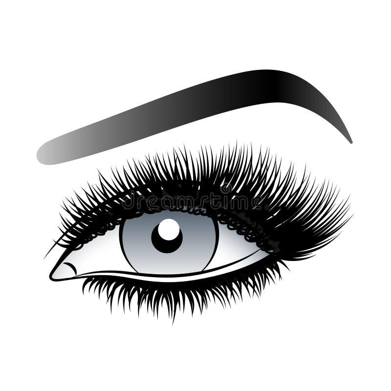 Graues Frauenauge mit langen falschen Peitschen mit Augenbrauen lizenzfreie stockfotografie