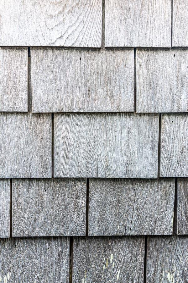 Graues hölzernes Schindelbeschaffenheits-Musterporträt stockfoto