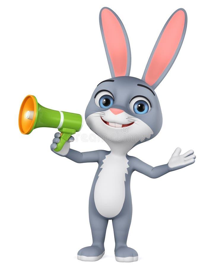 Graues Kaninchen der Zeichentrickfilm-Figur mit Megaphon auf weißem Hintergrund Wiedergabe 3d Abbildung f?r das Bekanntmachen vektor abbildung