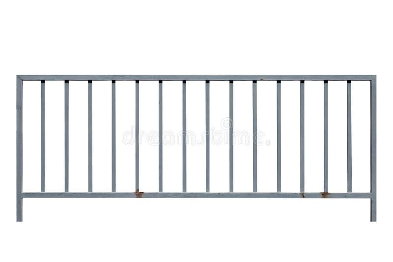 Graues Metall-frence lokalisiert auf Weiß stockfotografie