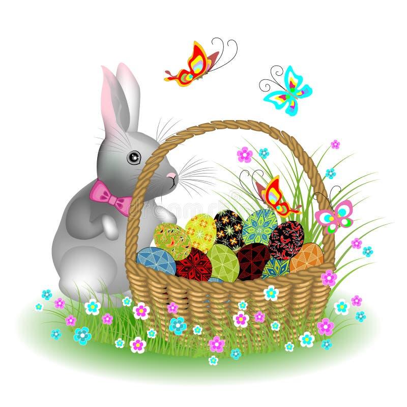 Graues nettes Kaninchen nahe einem Korb mit Ostereiern Fr?hlingsblumen und -schmetterlinge r vektor abbildung