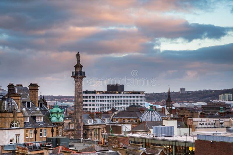 Graues ` s Monument in Newcastle-Skylinen stockfotografie