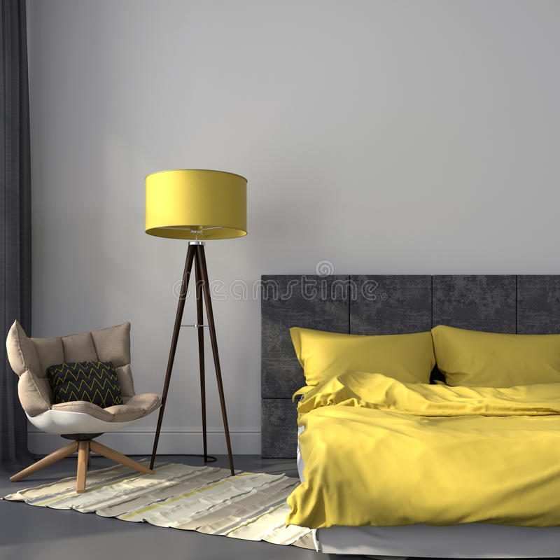 Graues Schlafzimmer und gelber Dekor lizenzfreies stockfoto
