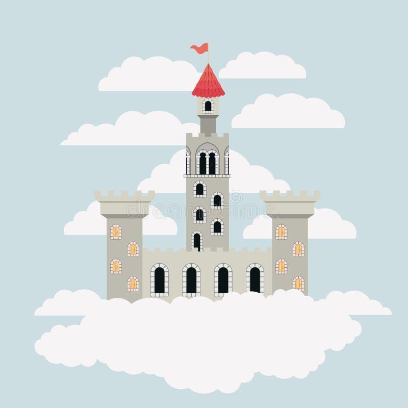 Graues Schloss von Märchen im Himmel umgeben durch Wolken im bunten Schattenbild vektor abbildung
