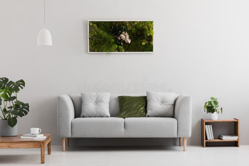Graues Sofa mit Kissen im wirklichen Foto des hellen Wohnzimmerinnenraums mit Büchern auf hölzernem Regal, Kaffeetasse auf Tabell stockfotografie