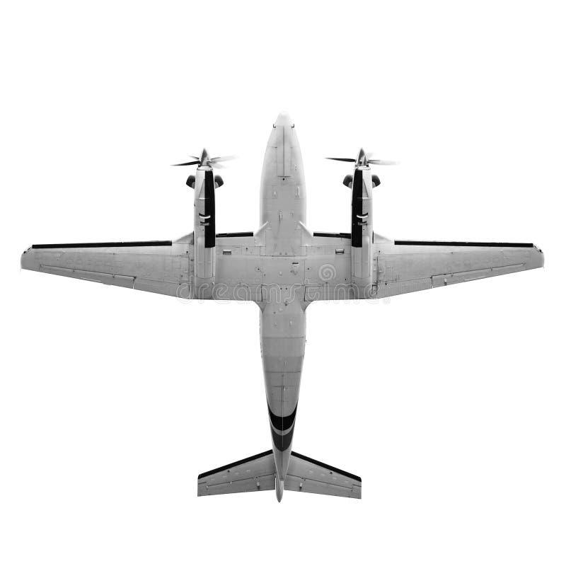 Doppelstütze-Transportflugzeug lokalisiert auf weißem Hintergrund stockbild